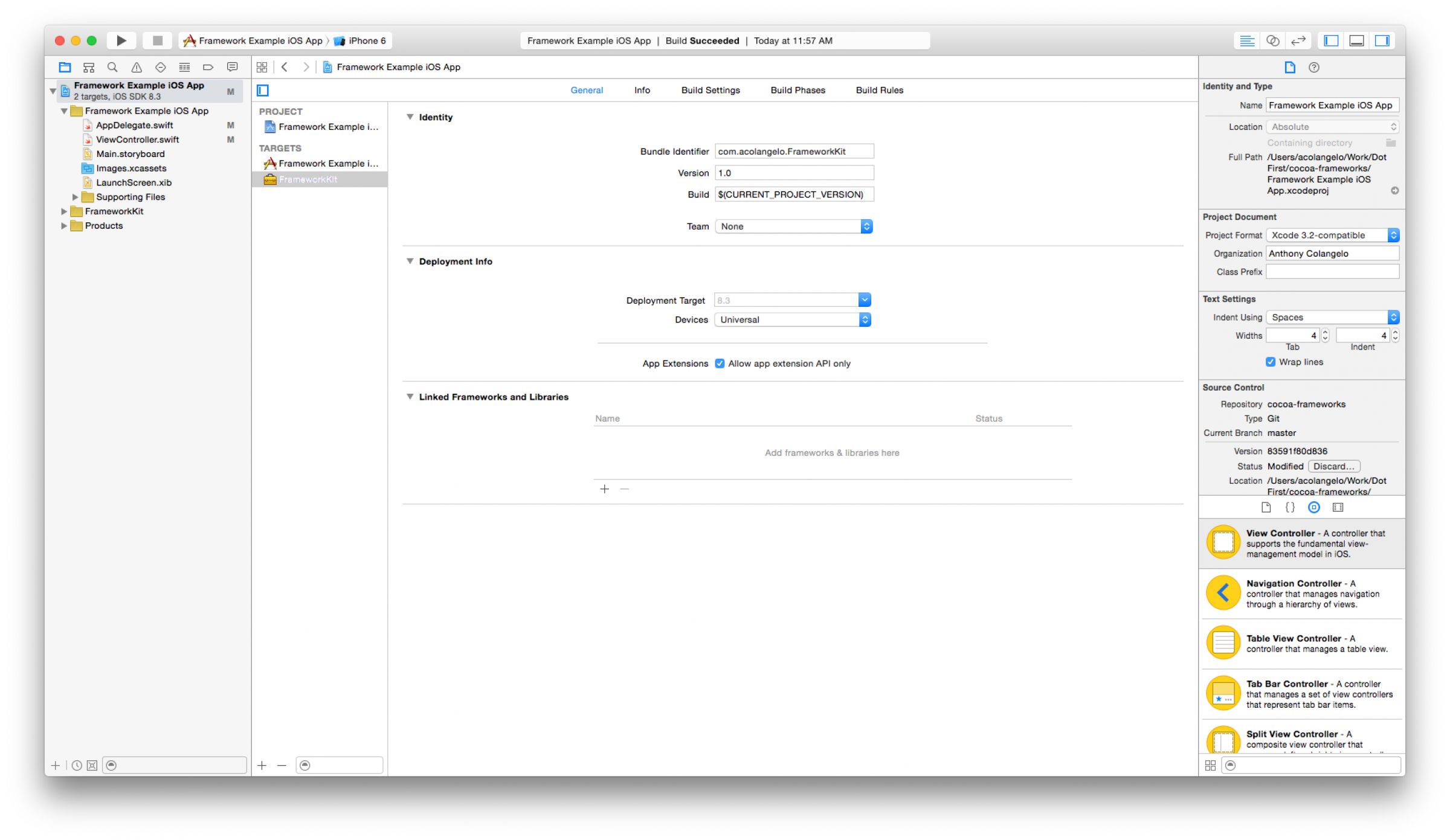 Cross-Platform Frameworks in Xcode: App Extension settings